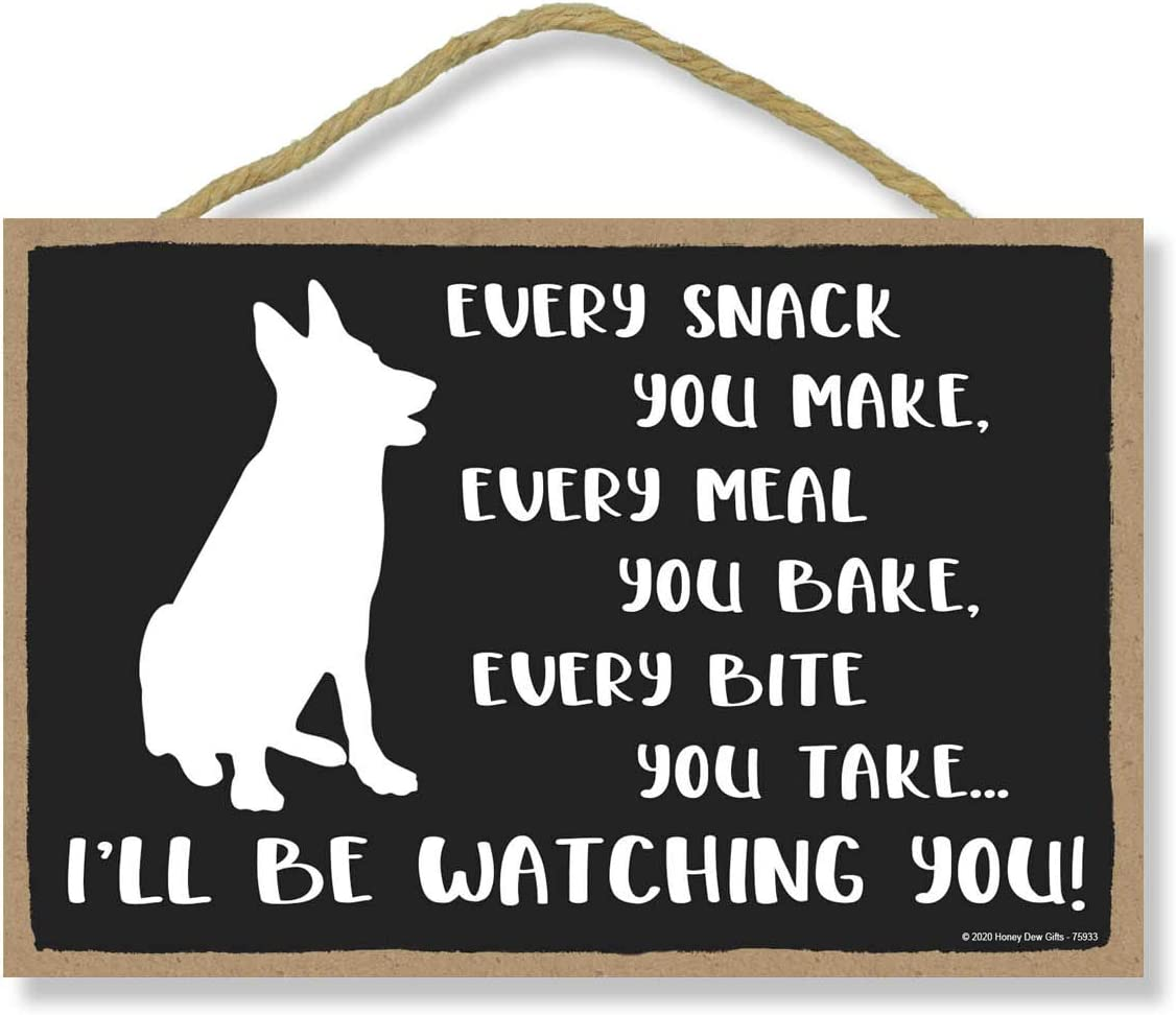 Honey Dew Gifts Funny Wooden Signs, Every Snack You Make I'll Be Watching You, 7 inch by 10.5 inch Hanging Wall Art, Decorative Dog Sign, Housewarming Gifts, Home Decor