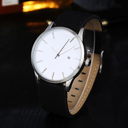 JiaMeng Mujer Reloj de Casual, Reloj de Pulsera de Cuarzo de Cuero de connotación Minimalista Popular de bajo Perfil (Blanco): Amazon.es: Ropa y accesorios