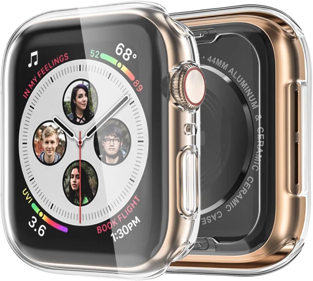 Monoy Case for Apple Watch Series 4/5 Screen Protector 40mm, [3-Pack] All Around Soft TPU Protective Cover Case for iWatch 4/5 40mm (Clear)