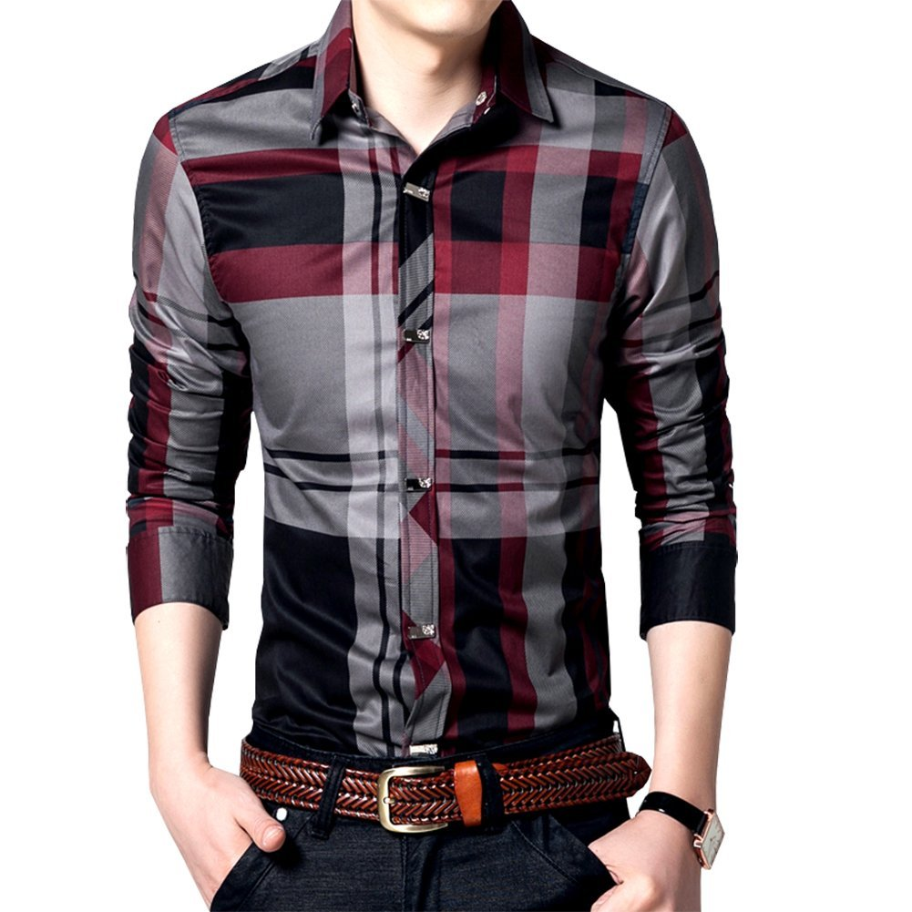 Homleys Womleys Mens Long Sleeve Slim Fit Casual Snap Buttons ...