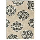 Mohawk 90221 63003 096120 EC Exploded Medallions Area Rug, 8'X10', Starch