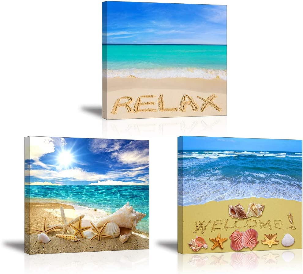"""Beach Wall Art Decor for Bedroom, SZ Sea Shell Canvas Prints, Relax Ocean Theme Pictures (Waterproof Artwork, 1"""" Thick, Bracket Mounted Ready to Hang)"""