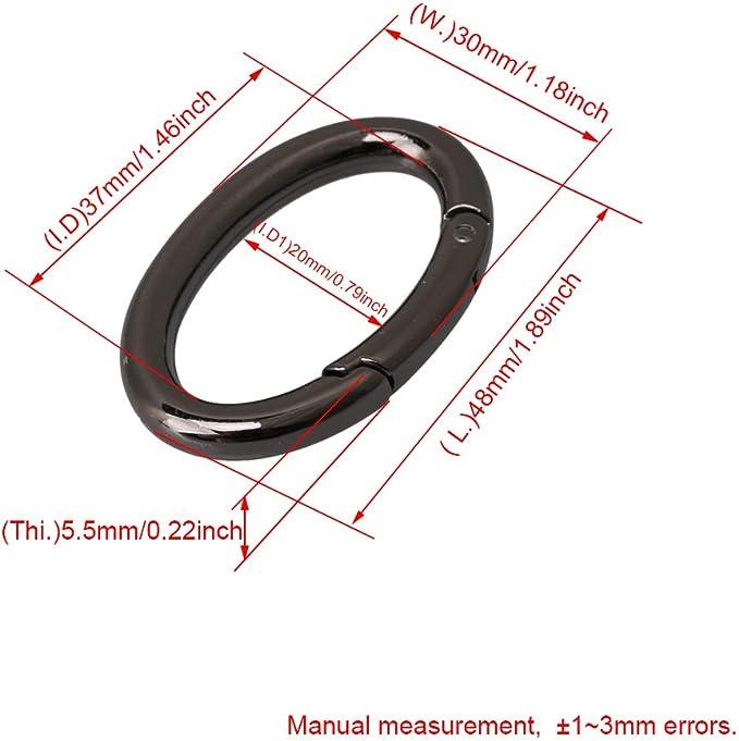 BQLZR 48/x 30/mm Nickel Noir Alliage Snap Clip D/éclenchent Ressort Gate Bague ovale Porte-cl/és Chien Cha/îne Boucle pour sac de voyage Anneaux Porte-cl/és Lot de 4