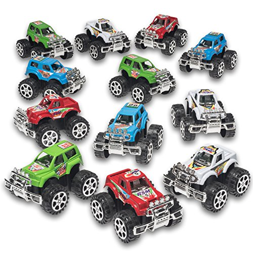Pack of 12 Monster Pullback Trucks Stocking Stuffers
