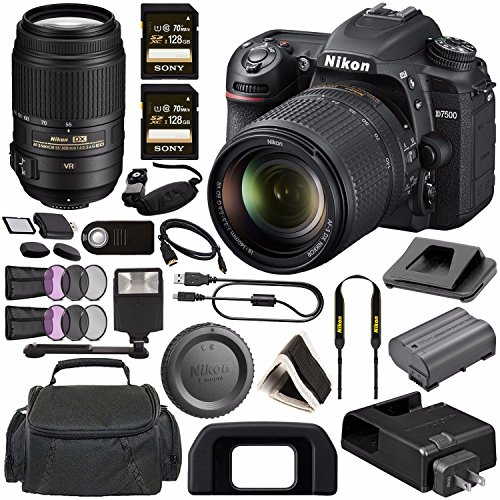 Nikon D7500 DSLR Camera with 18-140mm Lens 1582 + Nikon AF-S DX NIKKOR 55-300mm f/4.5-5.6G ED VR Lens + Sony 128GB SDXC Card + Digital Slave Flash + HDMI Cable + Carrying Case + Remote Bundle