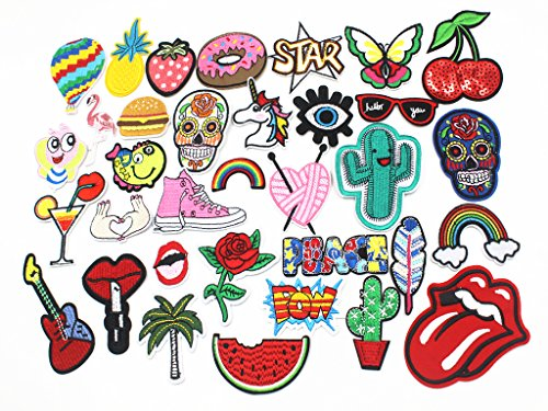 Diasstro 34pcs Mixed Iron On Patches For Clothing Embroidery Patch Summer Fabric Badge Stickers