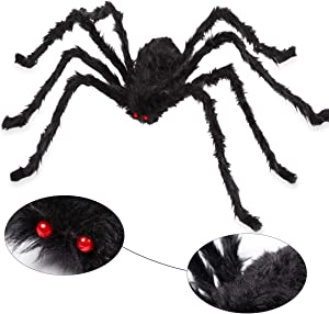 AOJOYS Giant Halloween Spider 6.6 Ft. 200cm, Scary Halloween Yard Decorations Large Black Hairy Spider Props for Indoor & Outdoor Halloween Decorations