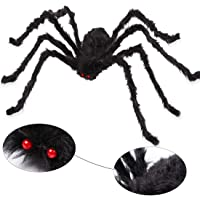 AOJOYS Giant Halloween Spider 6.6 Ft. 200cm, Scary Halloween Yard Decorations Large Black Hairy Spider Props for Indoor…