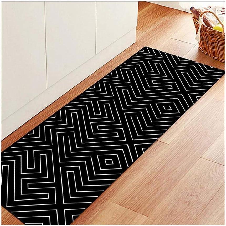 Color : B, Size : 50120CM Mbd Nordic Geometric Black and White Floor mat Bedroom Bedside Bathroom Bathroom Door mat Kitchen Full Shop Long Foot pad