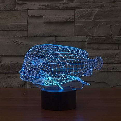 MFBis Pescado 3d luz nocturna usb carga táctil mesa escritorio ...