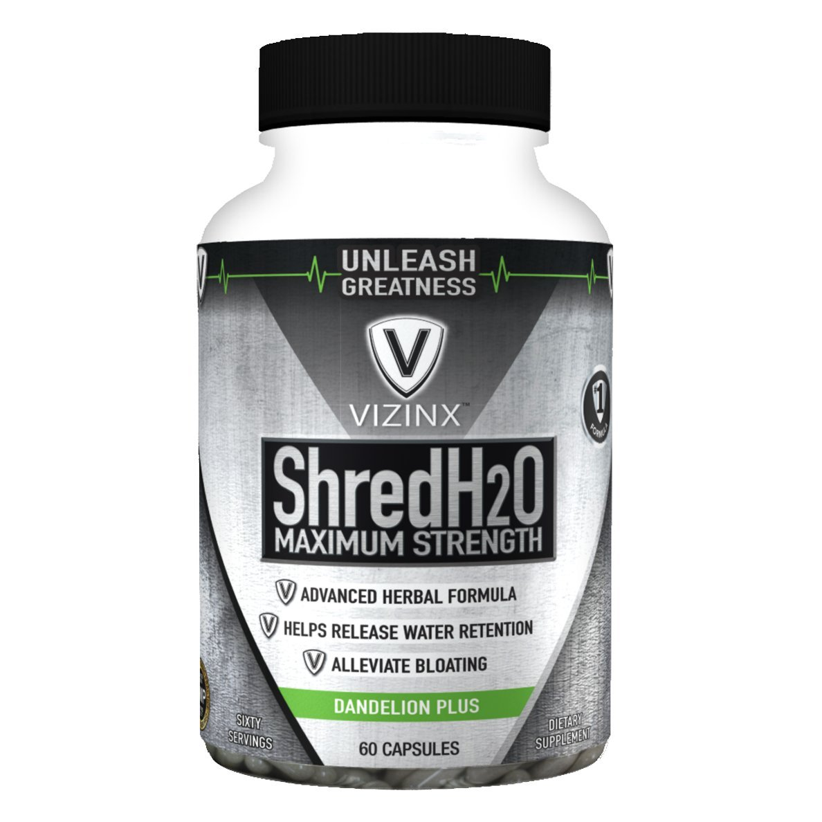 VIZINX Shred H2O Herbal Diuretic - #1 Formula with Dandelion, Green Tea, Cranberry, Apple Cider Vinegar, Buchu, Juniper, Watermelon & More. Supports Healthy Potassium Levels & Water Balance 60 caps. by VIZINX