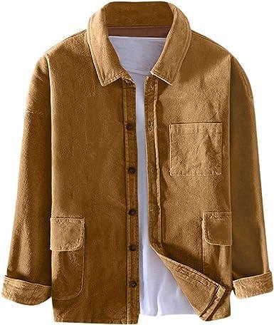 Briskorry Camisa de pana para hombre, estilo informal, retro ...