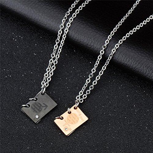 280ef5c1f97b Durable Modelando HIJONES Acero Inoxidable Amor Letra Libro Collar Colgante  Matte Negro Oro Rosa