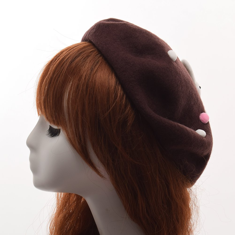 33131332089f1 GRACEART Women s Handmade Lolita Beret with Peals and Rabbit (Brown) at  Amazon Women s Clothing store