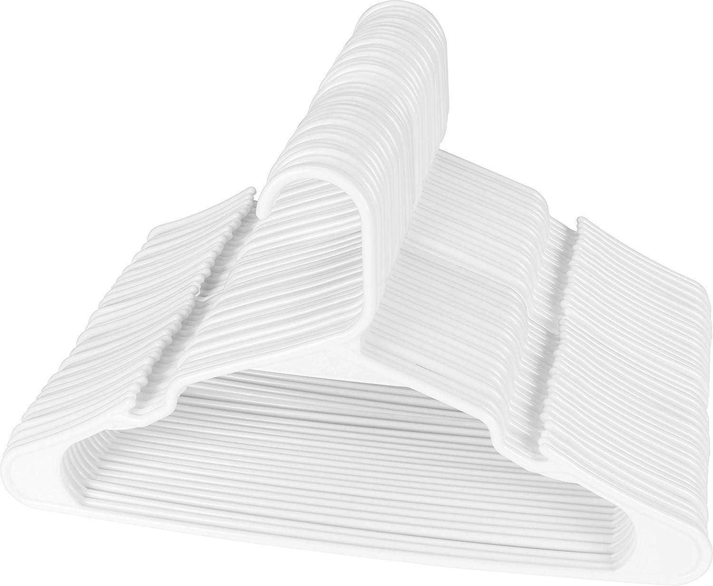 Utopia Home [50 Paquete Perchas - Perchas de plástico estándar, duraderas y Delgadas, para Adultos 42 cm - Blanco