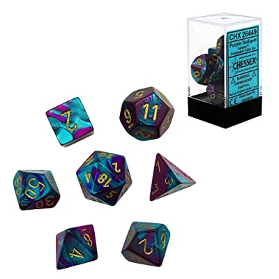 Chessex CHX26449 Dice, Gemini Purple-Teal/Gold, One Size, Purple/Teal/Gold: Toys & Games
