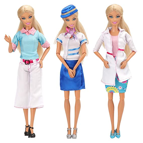 6541a2a4ae5 Barwa Doll Careers Teacher, Doctor, Flight Attendant with 3 Pairs of Shoes  Careers Clothes for Barbie Doll: Amazon.ca: Clothing & Accessories