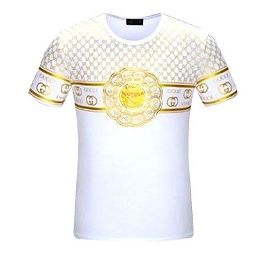 0acb840930e3 Amazon.com  Gucci white gold shirt mens large  Clothing