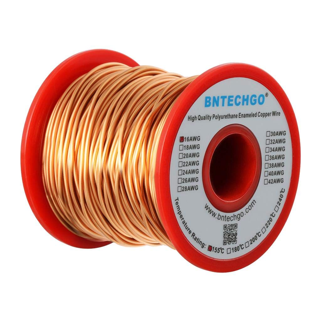 BNTECHGO 16 AWG Magnet Wire - Enameled Copper Wire - Enameled Magnet Winding Wire - 1.0 lb - 0.0492Diameter 1 Spool Coil Natural Temperature Rating 155℃ Widely Used for Transformers Inductors bntechgo.com