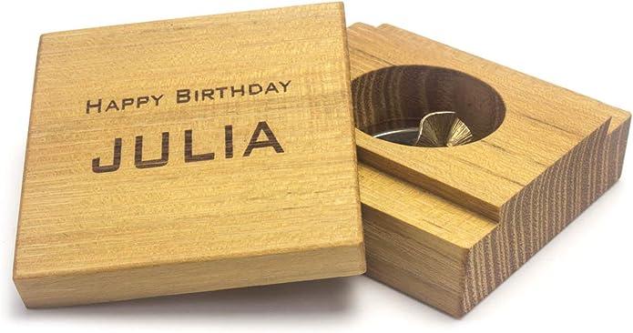 Caja de anillos de madera y piel con grabado, para anillo de ...
