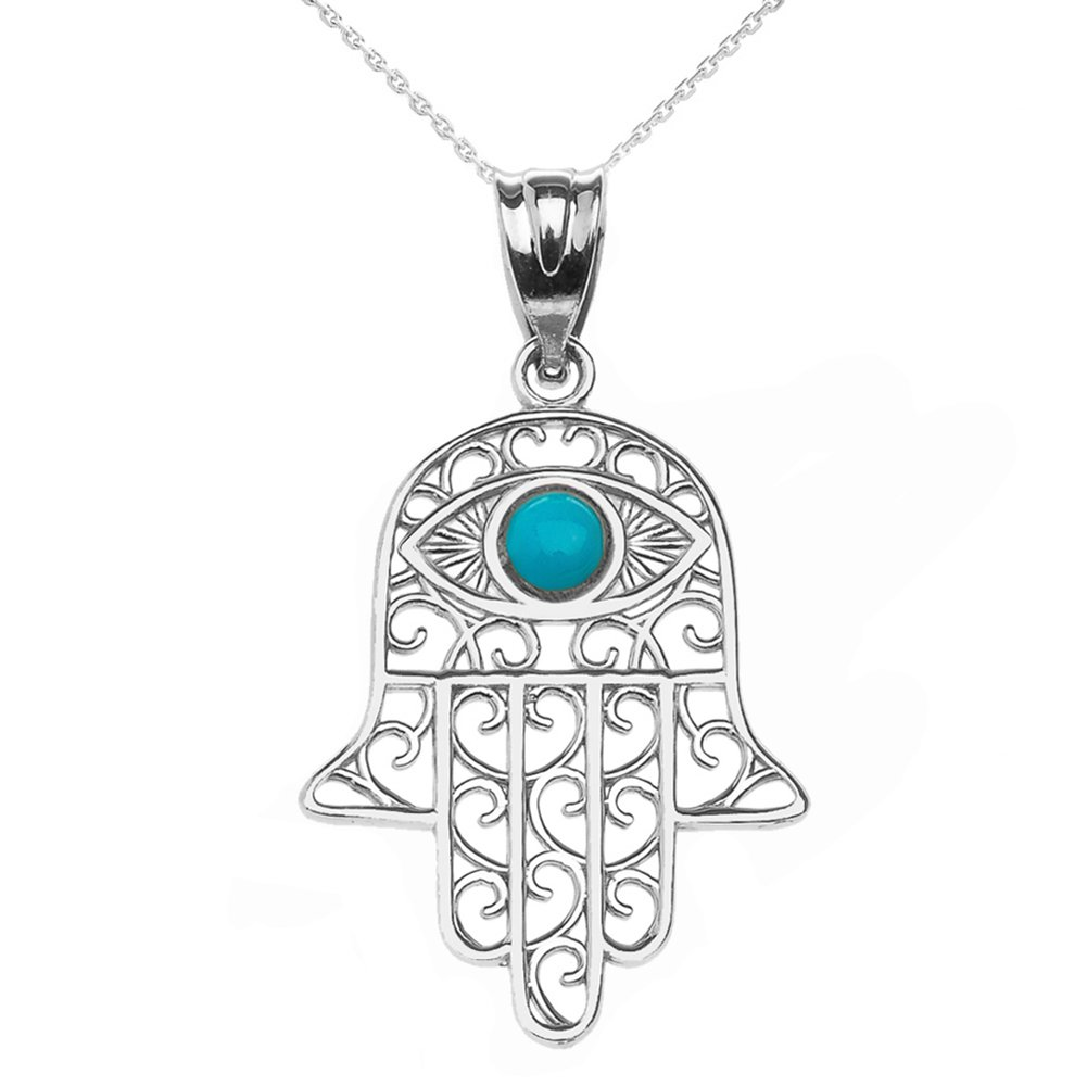 Fine Sterling Silver Hamsa Hand with Blue Stone Evil Eye Pendant Necklace, 18''
