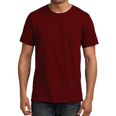 3cac70d88 Step Shoes Men's Maroon Pure Cotton Round Neck Half Sleeve T-Shirts(Plain  Tshirt