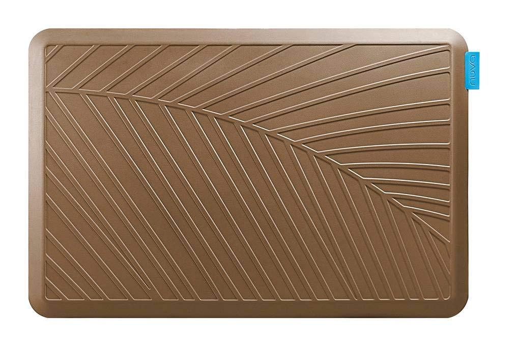NUVA Anti Fatigue Standing Floor Mat 36 x 24 in, NO PVC!!! 100% PU Comfort Ergonomic Material, 4 Non-slip PU Elastomer Strips on Bottom, 5 Safety Test by SGS (Light Brown, Palm Pattern)