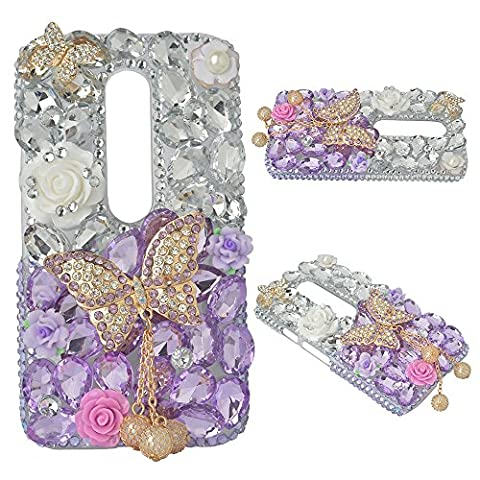 Spritech(TM) Bling Clear Phone Case For Motorola Moto G3/Moto G (3rd Gen),3D Handmade Silver Purple Crystal Butterfly Pendant Accessary Design Cellphone (Bling Phone Cases For Moto G)