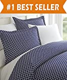 Difference Between Cal King and King Bed Celine Linen Luxury Silky Soft Coziest 1500 Thread Count Egyptian Quality 3-Piece Duvet Cover Set |Quatrefoil Pattern| Wrinkle Free, 100% HypoAllergenic, King/California King, Navy Blue