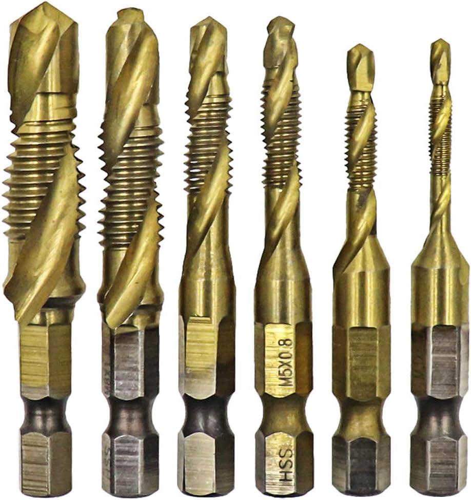 Metric Thread HSS M3-M10 Screw Tapping bit Tool 1//4 Hex Shank Hxchen 6Pcs Titanium Coated Drill and Tap Set