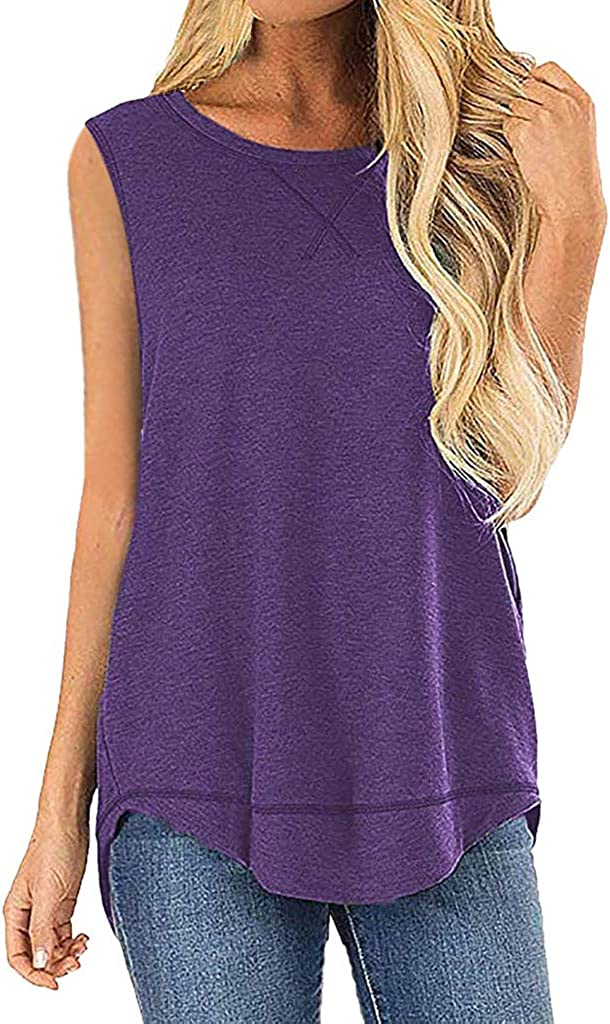 Women's Round Neck T-Shirt Casual Sleeveless Solid Color Vest top Summer Sleeveless Stitching Shirt top MEEYA