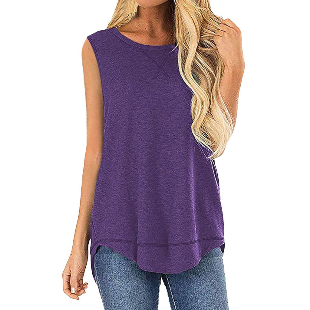 Deals Tank Tops for Women Casual Summer Sleeveless Stitched Detail Blouses Splice Shirts Tops Purple