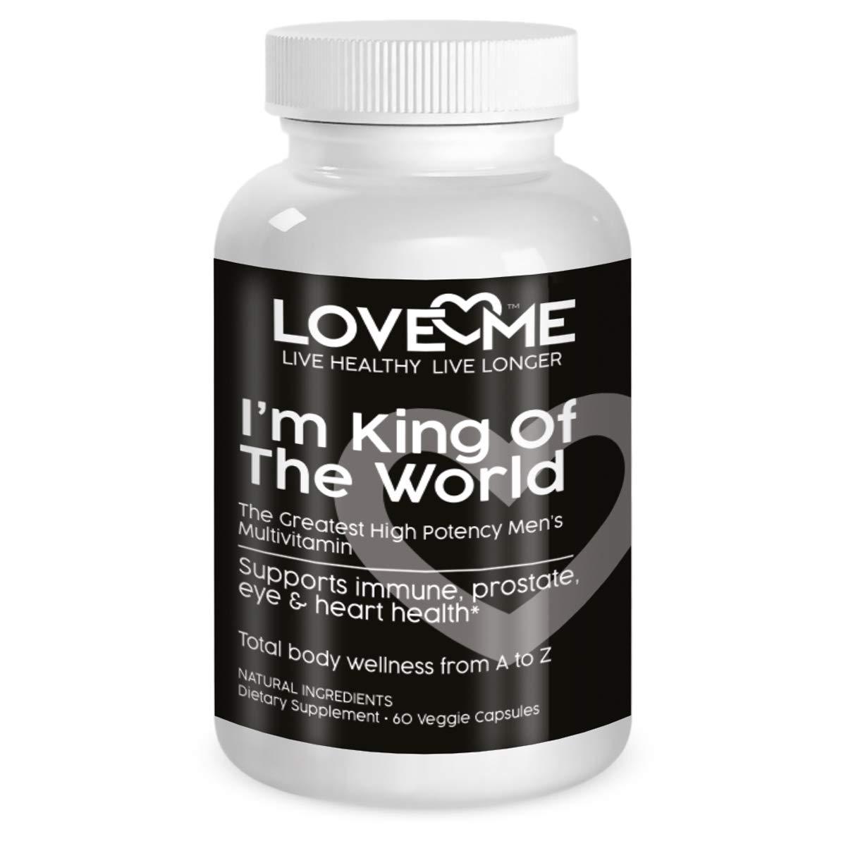 Love Me Nutrition – I m King of The World – Men s Multi B1, B2, B3, B5, B6, B12, Male Support, Blood Pressure Control- Herbs, Antioxidants. Natural No Artificial Ingredient. 60 Vegi Caps