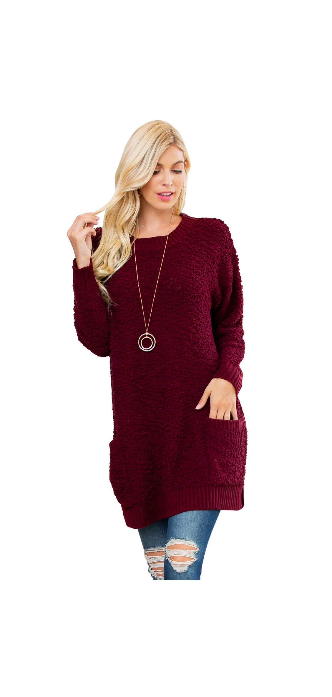 Boho Long Sleeve Soft Warm Chunky Popcorn Sweater - Cozy Casual