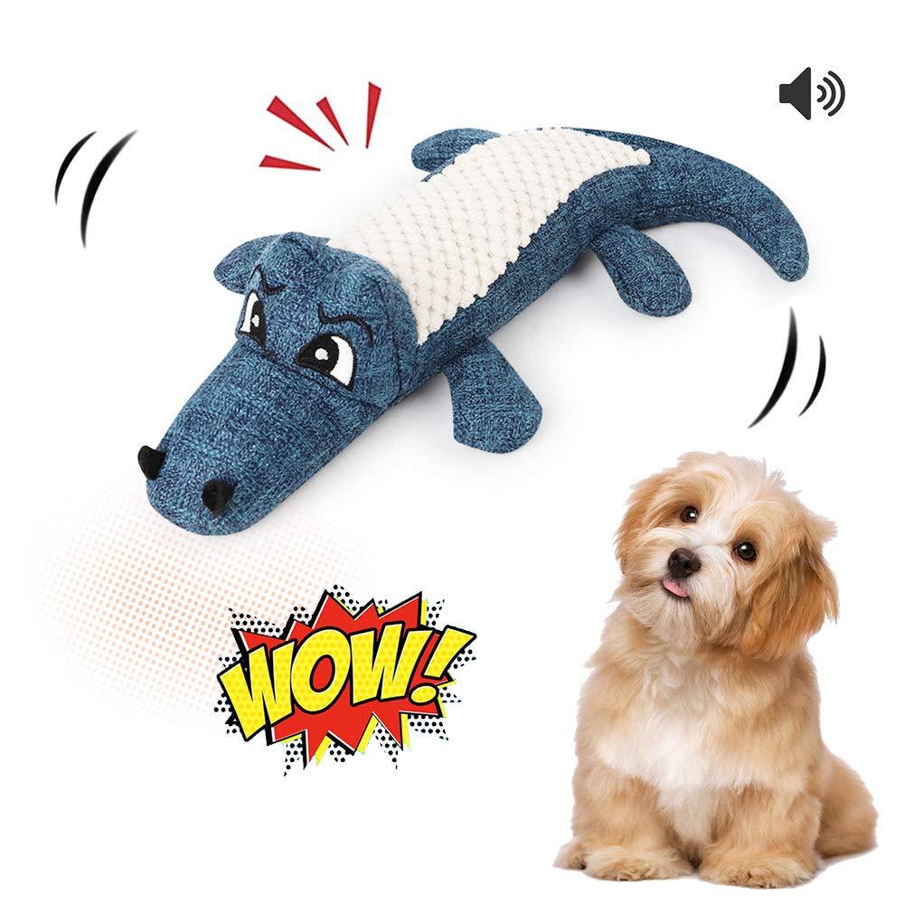 Womdee Giocattoli del cane Molare Pulizia Pet Giocattolo Durevole Suono Risposta Senza Imbottitura Cute Coccodrillo Giocattolo per Piccolo Medio Grande Cane 30 x 16 cm Blu