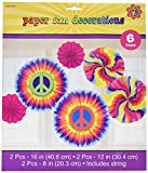 Amscan Groovy 60's Party Swirly Tie-Dye Printed Paper Fan Decorations (12 Piece), Multi Color, 12.9 x 11