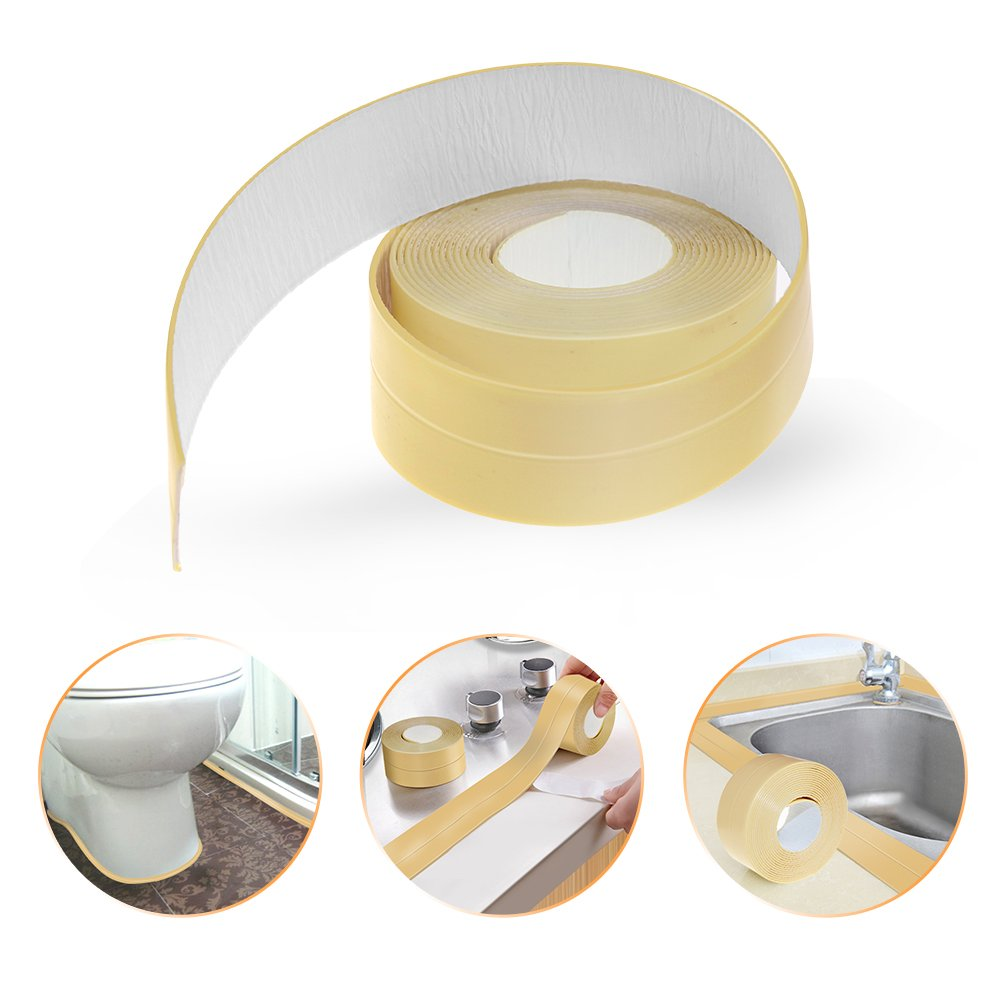 Mooncity Caulk Strip PE Bath and Shower Self Adhesive Caulk Tap Sealing Tape Strip Tub and Wall Bathtub Sealer 1 1 2 x 11' Yellow
