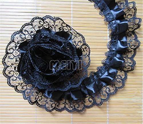 5 Meters Black 2-Layer Quality Satin Pleated Scallop Organza Lace Edge Gathered Mesh Trim Ribbon 5 cm Width Vintage Edging Trimmings Fabric Embroidered Applique Sewing Craft Wedding Dress DIY Decor ()