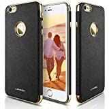 iPhone 6s Plus Case, LOHASIC [Premium Leather] Luxury Textured Non-slip Cover Electroplate Frame [Slim Body] Flexible Soft Protective Case for Apple iPhone 6s Plus iPhone 6 Plus - [Black]