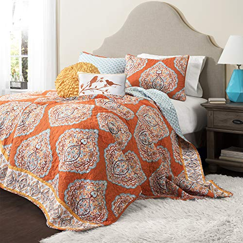 (Lush Décor Harley Quilt Damask Pattern Reversible 5 Piece Bedding Set, King, Tangerine)
