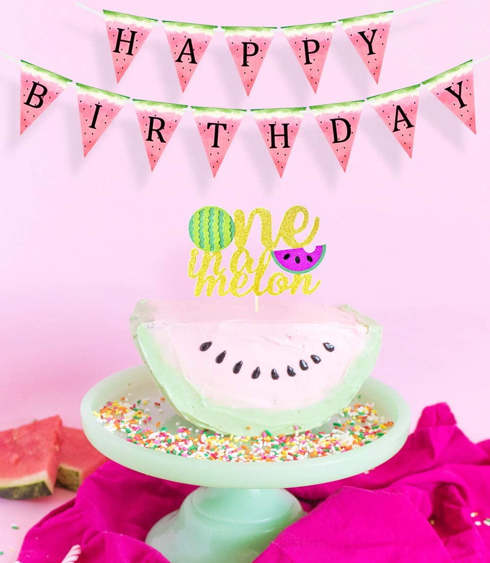Personalized One In a Melon Watermelon Table or Wall Sign 1st Birthday Party Decor or Photo Prop You choose colors