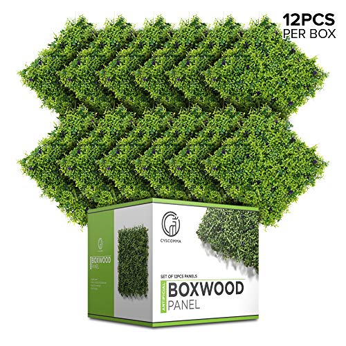 - Boxwood Panels Artificial Greenery Hedge Backdrop 12 Pack for Outdoor Privacy, Indoor Decor, Garden, Fence - Large 20 Inches Square DIY Realistic Faux Green Wall Topiary Plant, Lavender Flower