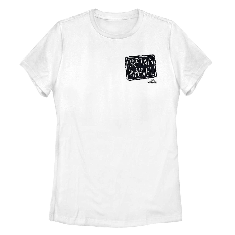 8a0aff028b8 Amazon.com  Marvel Women s Captain Marvel Crayon Patch Logo T-Shirt   Clothing