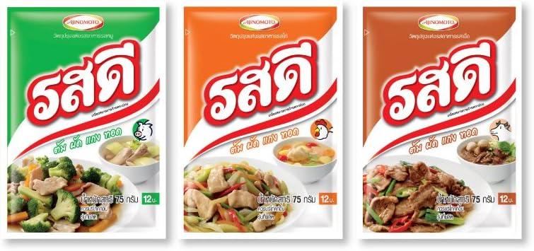 Ros-dee Food Seasoning Chicken/ Pork/ Beef Flavor Thai Original Cuisine Used to Cook Many Kinds of Food -- 3 Packs