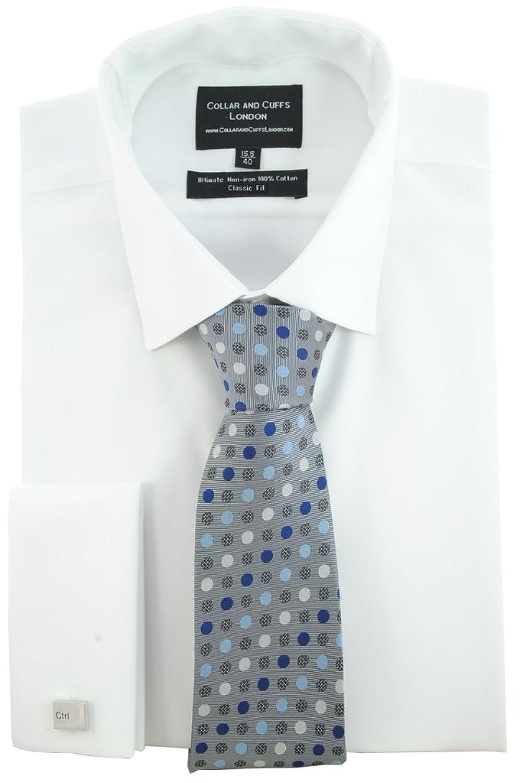 COLLAR AND CUFFS LONDON - HEMD, KRAWATTE UND MANSCHETTENKNÖPFE - BÜGELFREI - TWILL - 100% Baumwolle - Herrenhemd - Weiß - Regular Classic Fit - Umschlagmanschette - Langarm - Kragenweite 38 - 46