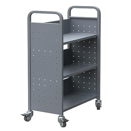 Commercial Grade Rolling Book Cart Bookmobile 4 Wheel Home Library Storage Organizer Bookshelf