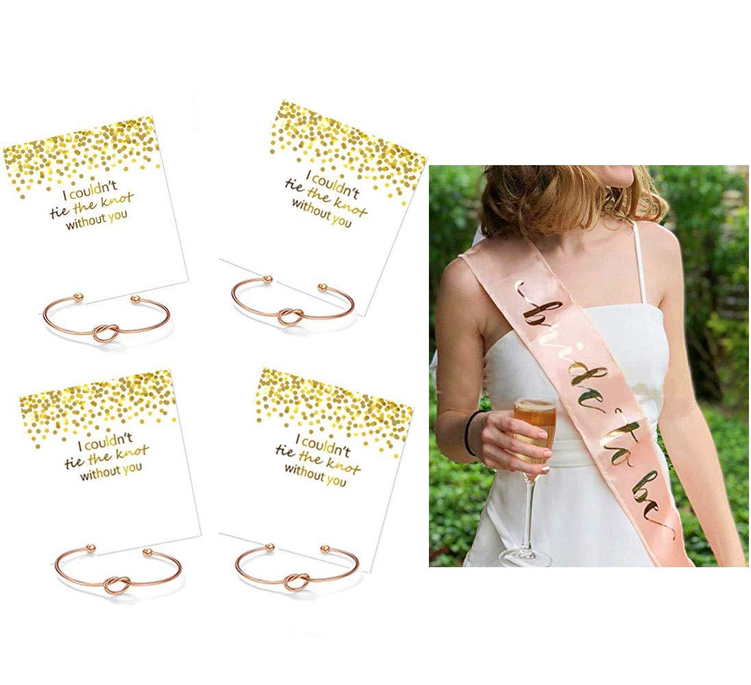 Bride to Be Sash Headband Bachelorette Bride Tribe Bridal Shower Wedding Party Favor Supplies (Pink 4)