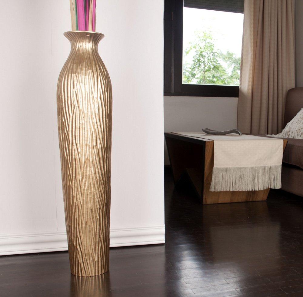 tall floor vase  cm mango wood golden amazoncouk kitchen  - tall floor vase  cm mango wood golden amazoncouk kitchen  home