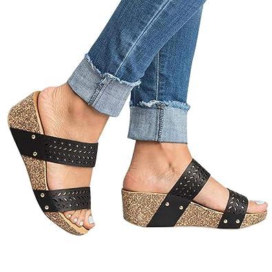 8e164e4a321a GIANTHONG Womens Summer Sandal Wedges Boho Flip Flops Platform Shoes  Slippers Retro Peep Toe Slipper Hollow