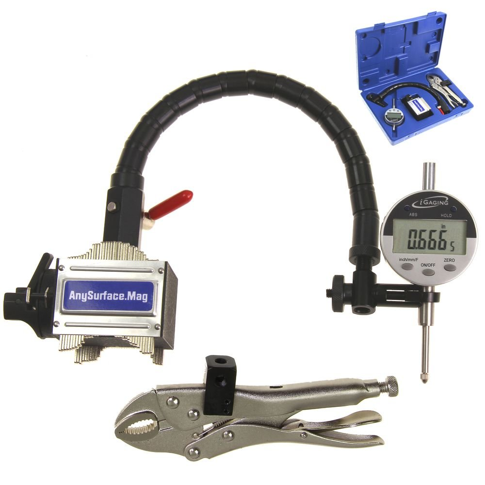 Any Surface Anytime Tools Dial Indicator 1//0.001 Flexible Arm Uneven Surface Magnetic Base w//Case